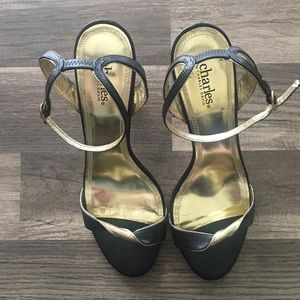 Charles David Black and gold heels size 10